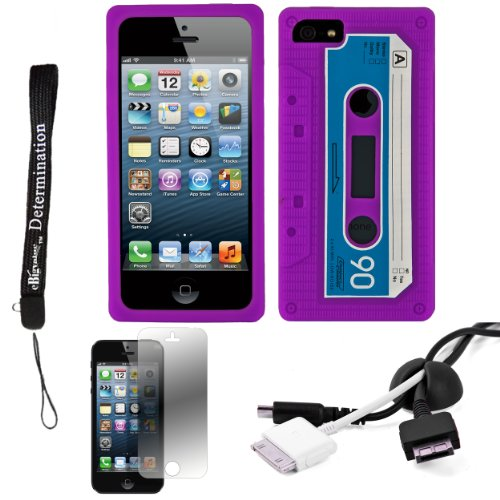 Purple Audio Classic Cassette Silicone Case Cover Skin Protector For Apple Iphone 5 Ios (6) Smart Phone + Black Cord Organizer + Apple Iphone 5 Screen Protector + An Ebigvalue Tm Determination Hand Strap
