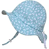 Toddler Sun Hat with Chin Strap, Drawstring Adjust Head Size, Breathable 50+ UPF (M: 9m - 24m, Mint Flower) Size: M: 9m - 24m Color: Mint Flower, Model: SUN-HAT, Newborn & Baby Supply