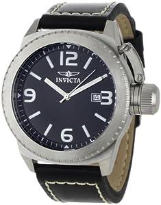 Invicta Corduba Model Men's Quartz Watch with Black Dial Analogue Display and Black Leather Strap 1108