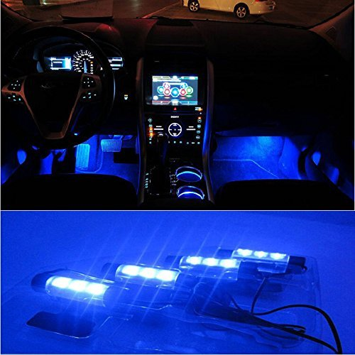 Docooler 4X 3 Led Car Charge 12V Glow Interior Decorative 4 in 1 Atmosphere Light Lamp (Car Glow compare prices)