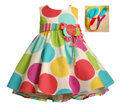 Bonnie Jean Girls Polka Dot Balloon Birthday Party Dress , Multi-Color , 12M front-1060156