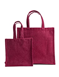 "WMM Craft Classic Jute Tote,Jute Handbag ,combo Of Medium 12""x12"" And Small 8""x8"" Mini Gift Bag,Jute Bag For Gifting..."
