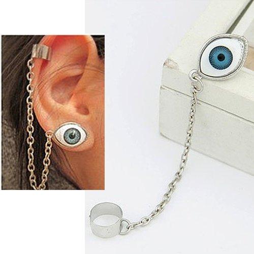 Unisex Fashion Single Eyeball Eye Earring Ear Stud Ear-Hook-Blue By Tjspecia