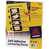 Avery Self-Adhesive Laminating Sheets, 9 x 12 Inches, Box of 50 (73601)