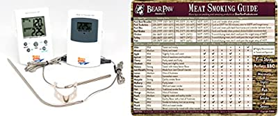 Maverick ET73 Wireless BBQ Meat Thermometer - White - Monitors Meat & Barbecue/Grill/Smoker Temperature Simultaneously - 100 FT Range - FREE Bear Paw Products Meat Smoking Guide Magnet ($5.99 added value)