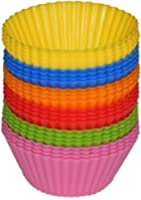 Rainbow Bright Standard Sillicone Reusable Heat Resistant Baking Cups - Cupcake Liner - 24 Count