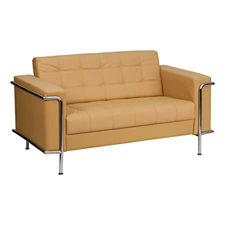 HERCULES Lesley Series Contemporary Leather Love Seat with Encasing Frame Light Brown