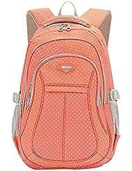 JiaYou Kid Child Girl Multipurpose Dot Backpack School Bag(Orange,Large)