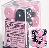 Chessex Manufacturing 26630 D6 Cube Gemini Set Of 12 Dice, 16 mm - Black & Pink With White Numbering by Chessex Manufacturing