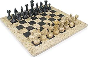 """16"""" x 16"""" Fossil and Red Onyx Stone Chess Sets"""