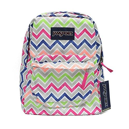 Classic Jansport Superbreak Backpack (Cyber Pink Summer Chevron (T5010ED))