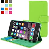 iPhone 6 Case, SnuggTM - Green Leather Wallet Cover and Stand with Card Slots & Soft Premium Nubuck Fibre Interior - Protective Apple iPhone 6 Flip Case - Includes Lifetime Guarantee