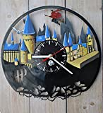 Hogwarts Castle Vinyl Record Wall Clock - Get unique nursery, bedroom wall decor - Gift ideas for boys, girls and kids - Unique Harry Potter Movies Art - Leave us a feedback and win your custom clock