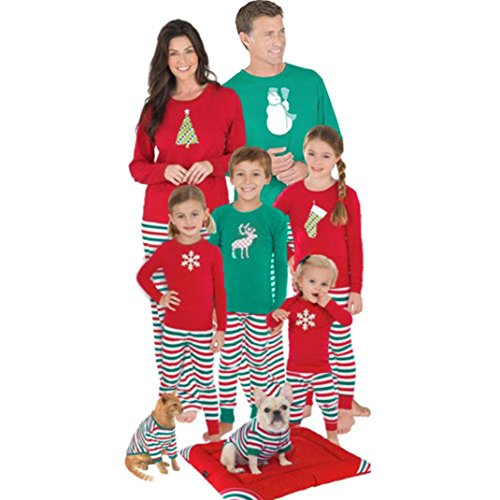 Familyclothing Matching Christmas Red Blue Happiness Elk Socks Pattern Pajamas PJs Sets for the Family (3T, Girls)