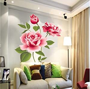 Fashion Removable Vinyl Decal Rose Flower DIY Home Decor Wall Sticker by BeautyMall Co., LTD