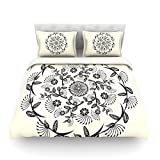 "Kess InHouse Famenxt ""Black and White Decorative Mandala"" Geometric Cotton Duvet Cover, 88 by 104-Inch"