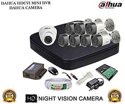 Dahua-DH-HCVR4108C-S2-8CH-Dvr,-7(DH-HAC-HFW1000RP)-Bullet,-1(DH-HAC-HDW1000RP)-Dome-Camera-(With-Accessories,-2TB-HDD)