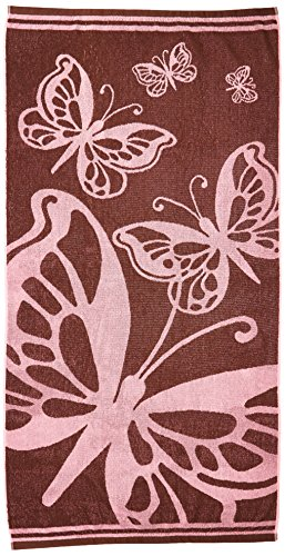 Butterfly Pink Chocolate by Cotton Craft - Terry Jacquard Beach Towel size 32x63 - 500 grams 100% Pure Ringspun Cotton - Brilliant intense vibrant colors - Highly absorbent easy care machine wash - Use for picnic poolside or as a colorful bath towel - Other styles available - Surf Board Palm, Zebra, Shells & Fish, Wheel Anchor, Henna, Palm Tree Forest and Lily Bamboo