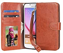 buy S7 Case, Moze Galaxy S7 Wallet Case [Wrist Strap] [Stand Feature] Pu Leather Flip Wallet Case Cover For Samsung Galaxy S7 - Brown