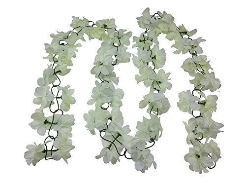 Yatim 13 Feet Silk Flowers Vine Decoration For Wedding Home Indoor Bouquet Garden Garland outside (Ivory)