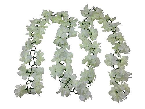 Yatim 13 Feet Silk Flowers Vine Decoration For Wedding Home Indoor Bouquet Garden Garland outside (Ivory)