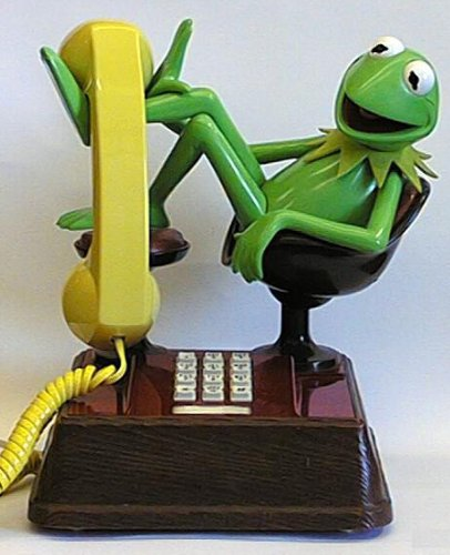 Kermit the Frog Phone on Chair - Muppet Show Collectable Push / Press Button Telephone - Extremely Rare - VINTAGE American Telecommunications Corp ORIGINAL 1970's - Retro Nostalgic - Faux Wooden Base - Green Body & Yellow Handset (BT Phone jack plug adapter included) Reviews