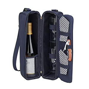 Classic Sunset Deluxe Wine Carrier for Two in Navy Blue
