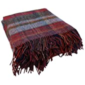 Wool Throw Blanket Purple & Burgundy John Hanly Irish Made