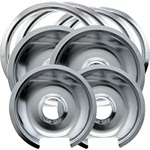 8 Pack Kitchen Hotpoint Drip Pans, chrome finish, shiny, 10.5 x 11.25 x 1.25 by MegaDeal