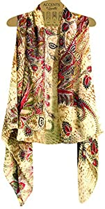 Amazon.com: Accents by Lavello Sheer Designer Vest, Beige
