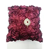 A'la Mode Creation Exclusive Maroon Color Cushion Cover With Golden Color Flower Broch And Red Stone (12*12)