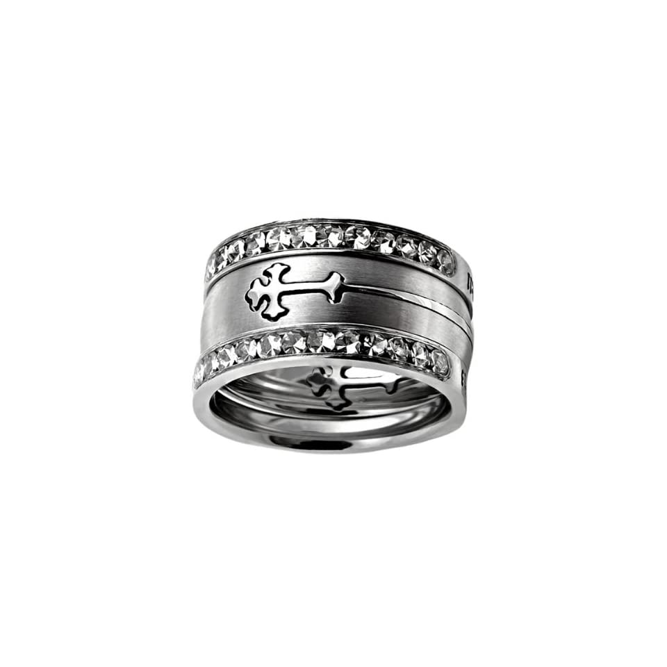 """Christian Womens Stainless Steel 10mm Abstinence 3 Ring Crown of Thorns Silver Double Orthodox Cross Tiara Chastity Ring for Girls   1 Black Double Cross Orthodox Cross Ring   Cross Slides In & Out of the Ring Like a Puzzle, 2 """"All Things Through"""