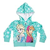 Disney Frozen Snowflakes Sisters Girls Mint Green Zip-Up Hoodie Sweatshirt | 5