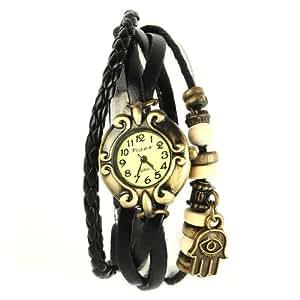 YESURPRISE Montre quartz Vintage Avec pendentif Main Knitted Bracelet en cuir Classique Bronze cadran 4 couleurs -1