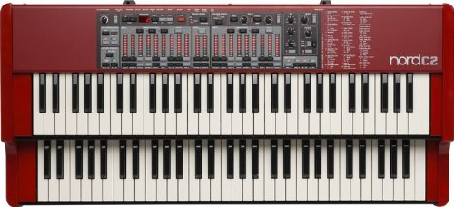 Nord C2 61-Key Dual Manual Combo Organ with Tonewheel, Vox, Farfisa Models and Baroque Pipe Organ (AMS-NC2)