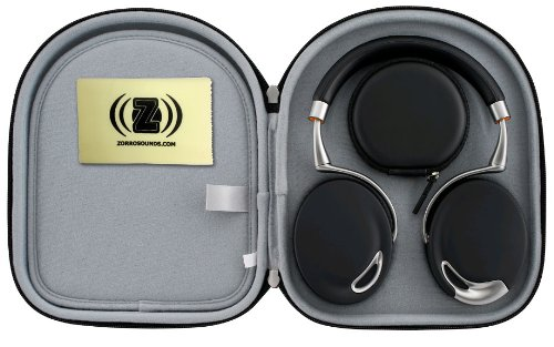 Parrot Zik Touch-Activated Bluetooth Headphones (Black) Bundle With Parrot Black Case And Custom Designed Zorro Sounds Cleaning Cloth