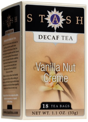 Stash Tea Company Decaf Vanilla Nut Creme Tea, 18 Count Tea Bags in Foil (Pack of 6)