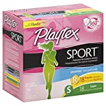 Playtex Sport Tampons, Plastic, Multi-Pack, Unscented, 36 tampons
