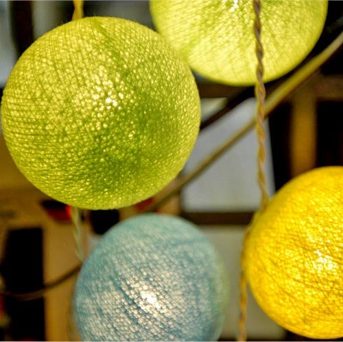 Cotton Ball Light Set (Yellow, Lemon Green & Light Blue Color) with White Cord for Birthday Party Decorating, Garden Party Decorations or Wedding Lights Product of Thailand