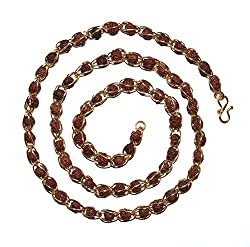 Fabzeel Rudraksha Mala 5 Mukhi Gold Plated 6MM 28 Inch Chain For Men