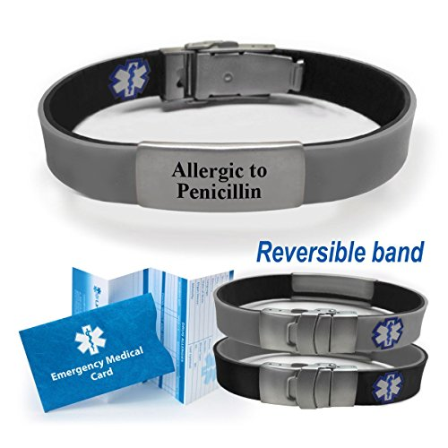 """Allergic To Penicillin"" Sport/Slim Reversible Medical Alert Identification Bracelet - Black / Gray. Choose From Diabetes, Blood Thinners, Seizures, Pacemaker More..."