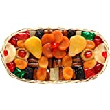 Broadway Basketeers Floral Dried Fruit Oval Gift Basket