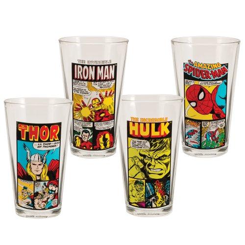 Vandor 26212 Marvel Comics 4 pc 16 oz Glass Set, Multicolor