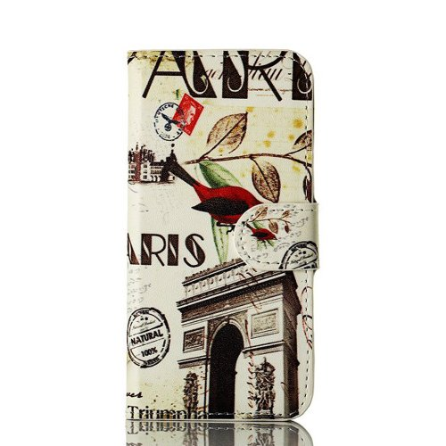Meaci Apple Iphone 5&5S Folio Case Fashion/Retro Style Postmark Arch Of Triumph France/France Arc De Triomphe/Victory Gate Pattern With Kickstand Credit Card Holder Id Holder Pu Leather Material Cover Magnetic Buckle (Arch Of Triumph France)