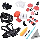 DEYARD ZG-646 GoPro Accessories Mount Kit 28pcs Bundle for GoPro HD Hero 1 2 3 &3+: Head Chest Wrist Strap +Floating Hand Grip Monopod + Flat Curved Adhesive Mount + Anti-Fog Inserts + Surf Mount +Cleaning cloth