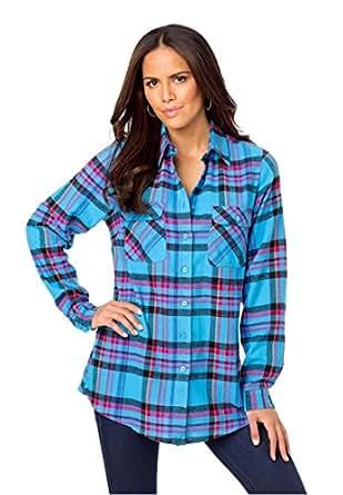 Roamans Women 39 S Plus Size Flannel Plaid Bigshirt Iris Blue
