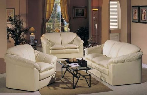 Buy Low Price Acme 3pc Loveseat Sofa Set Fan Style Ivory Regenerated Leather (VF_Livset-AM5515A)
