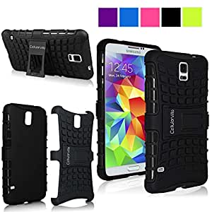 Cellularvilla Samsung Galaxy S5 SV I9600 Black Tough Hard Soft Heavy duty Rugged 2 in 1 Combo Hybrid Dual Layer Grip Protection Case Cover Protector with Build in Kickstand