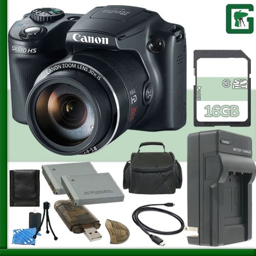 Canon PowerShot SX510 HS CMOS Digital Camera + 16GB Green's Camera Package 2 (Canon Powershot Sx 510 compare prices)