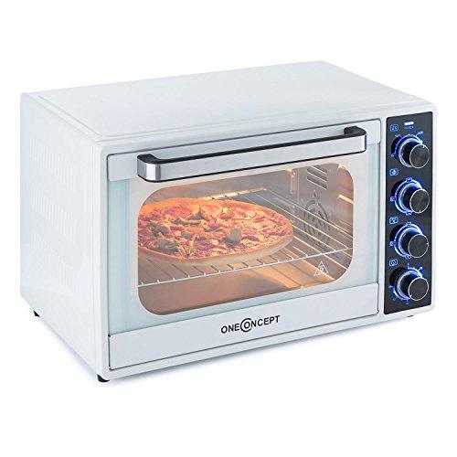oneConcept Mothership Mini Forno Grill da Cucina (1700 Watt, 35 litri, Ventola, Timer, Spiedo, Griglia e Teglia inclusi) Bianco